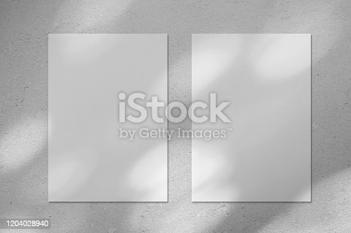 istock Two empty white vertical rectangle poster mockup with diagonal window shadow on the wall 1204028940