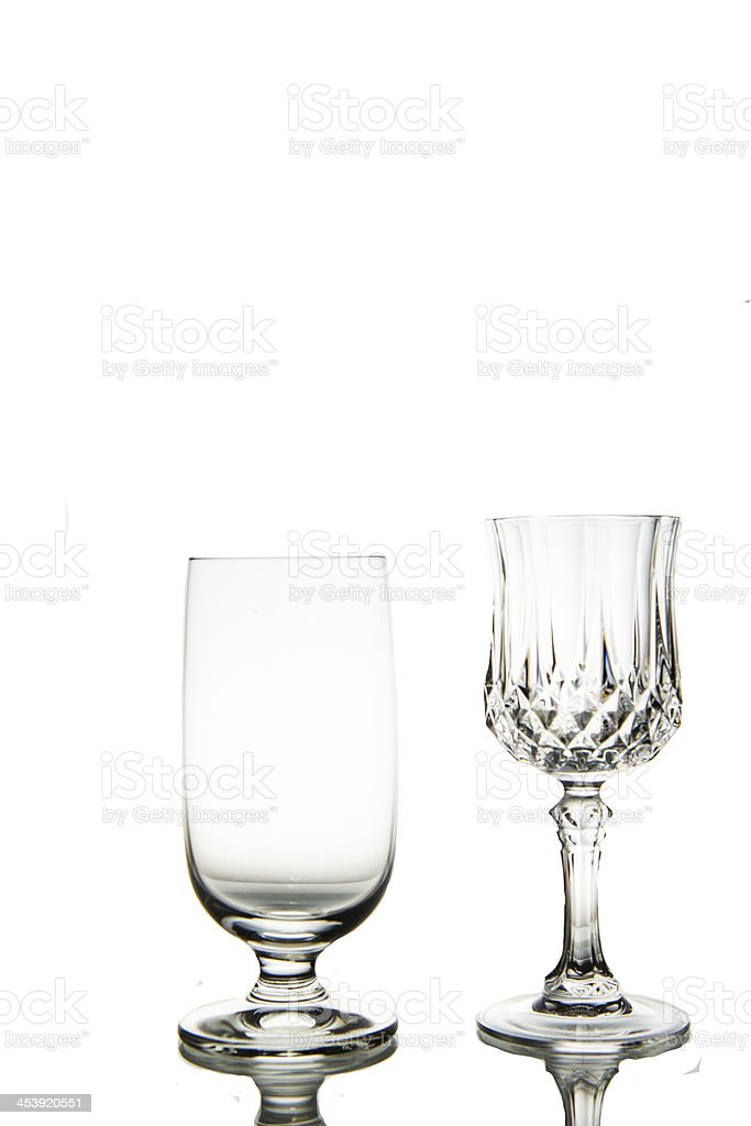 Two Empty wine glass. isolated on a white background royalty-free stock photo