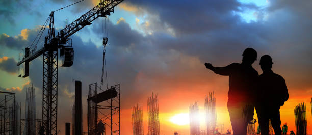 two engineer on working site - crane construction machinery stock pictures, royalty-free photos & images