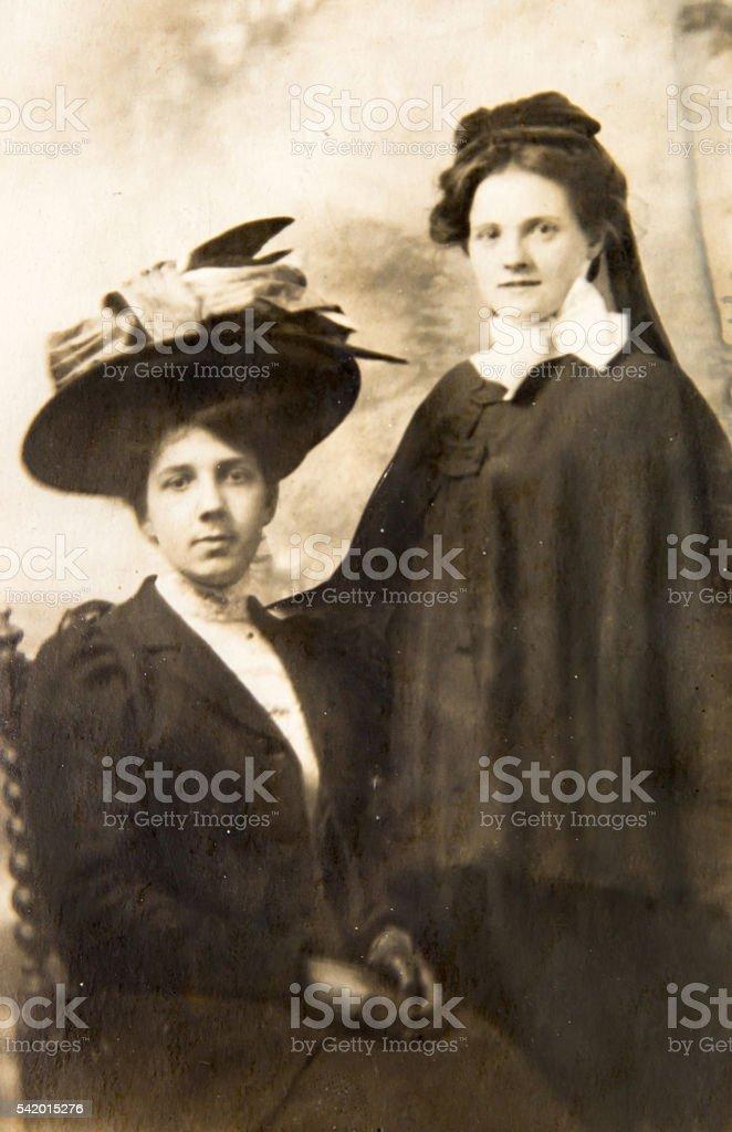 Two English women vintage portrait 1900th stock photo