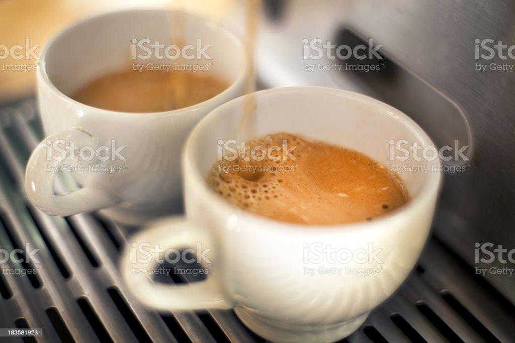 Two espressos stock photo