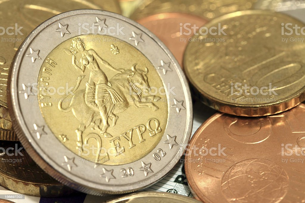 Two euro coin. Europe and the bull royalty-free stock photo
