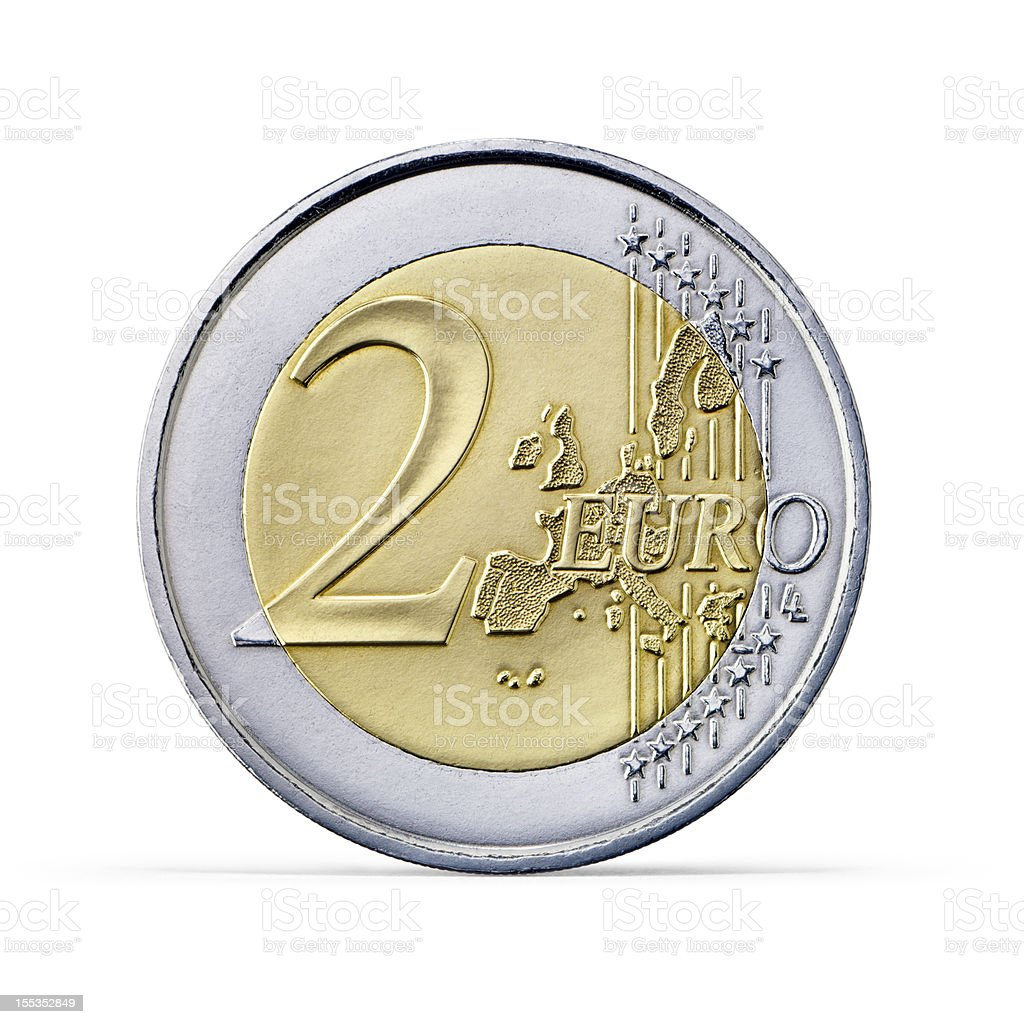 Two Euro coin (+clipping path) stock photo