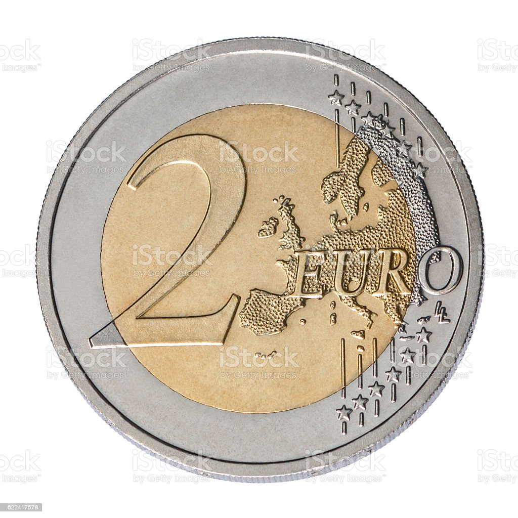 two euro coin stock photo
