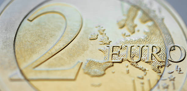 Two euro coin tilted stock photo