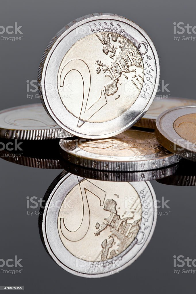 Two Euro Coins (on Dark Mirror Background) stock photo