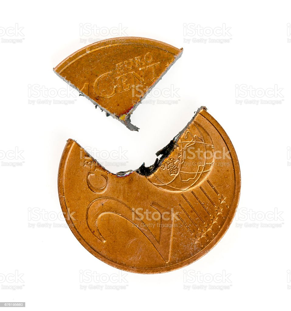 Two Euro-Cent coin cut stock photo
