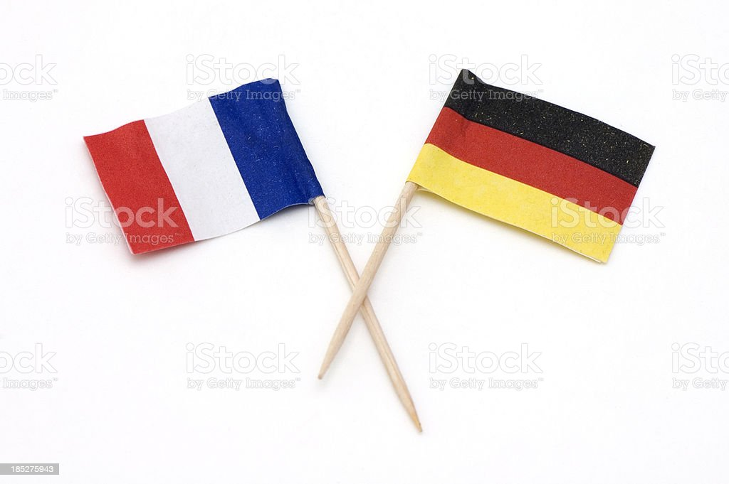 Two European Flags of Germany and France. stock photo