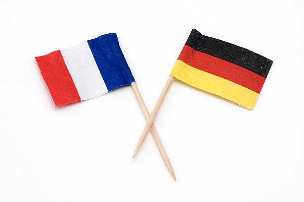 Two European Flags of Germany and France.