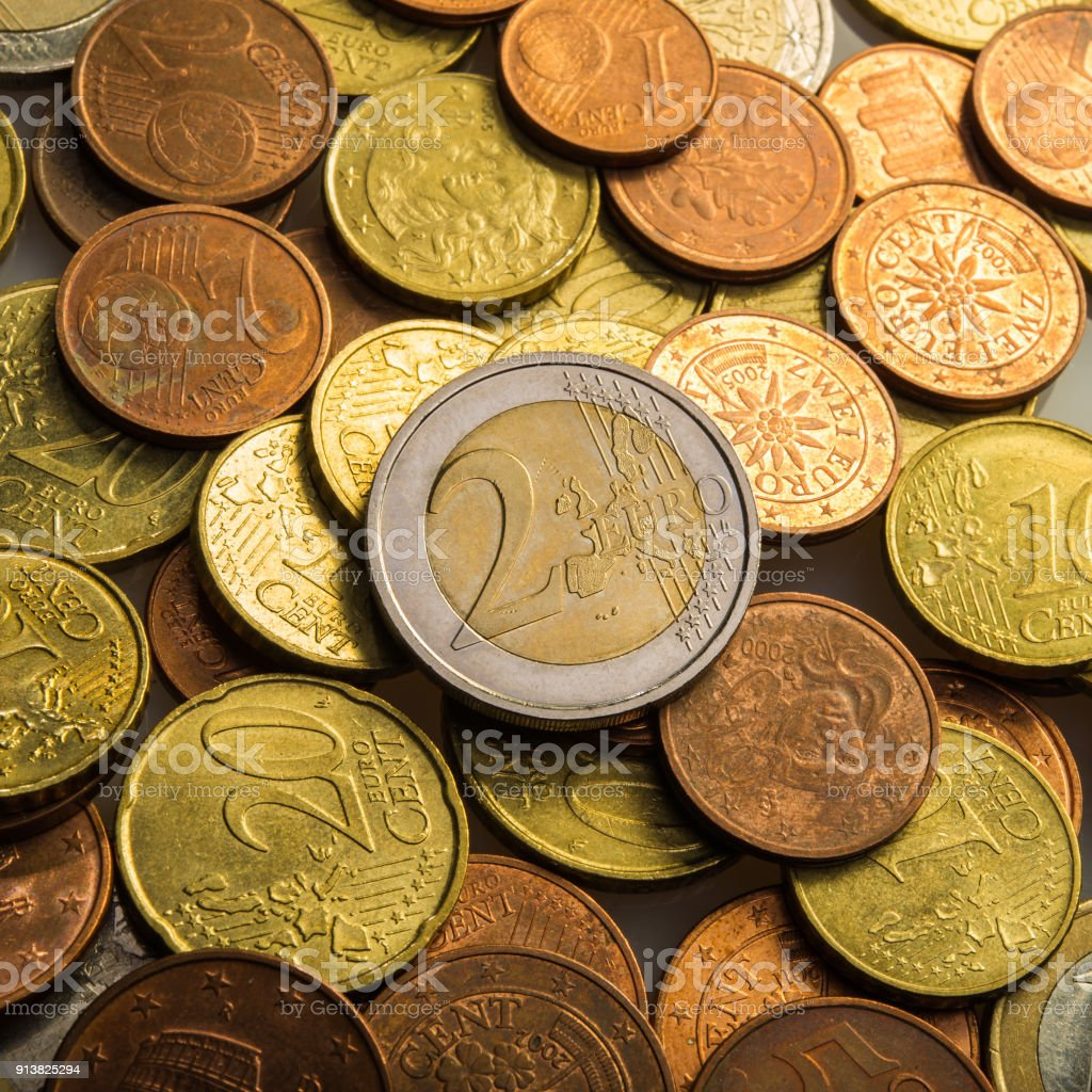 two euros and coins. Eurocent coins. stock photo