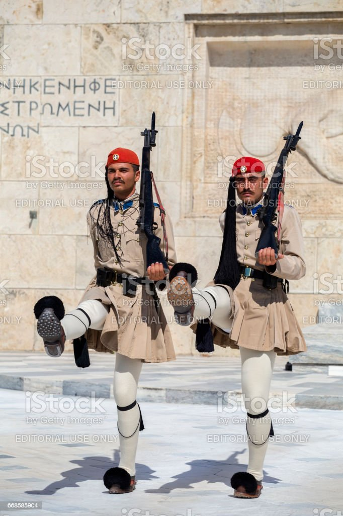Two evzone guard with rifle stock photo