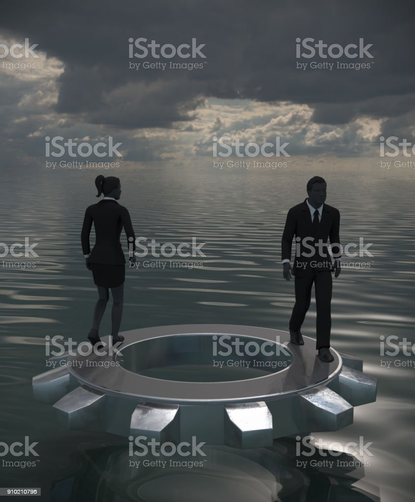 Two Executives on gear at sea in gloomy dusk. stock photo