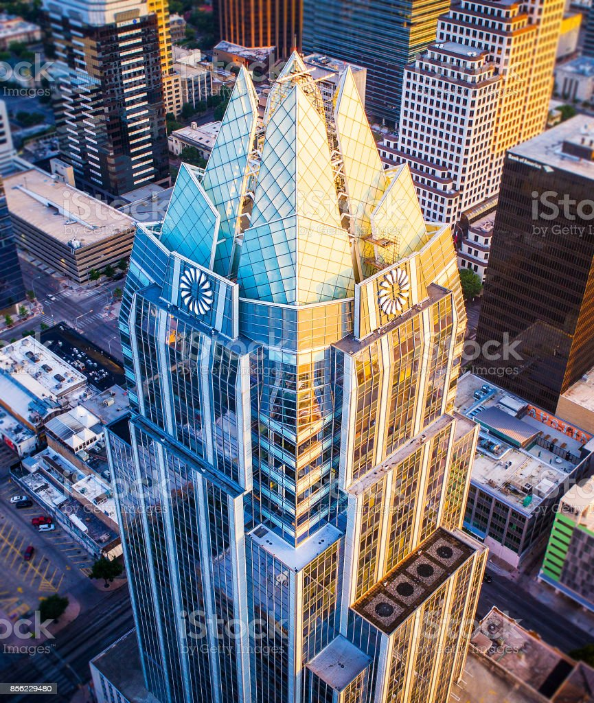 Two faces of the Owl Tower Austin Texas sunrise stock photo