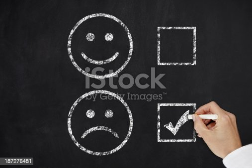 istock Two faces on a black board with the sad face being checked 187276481