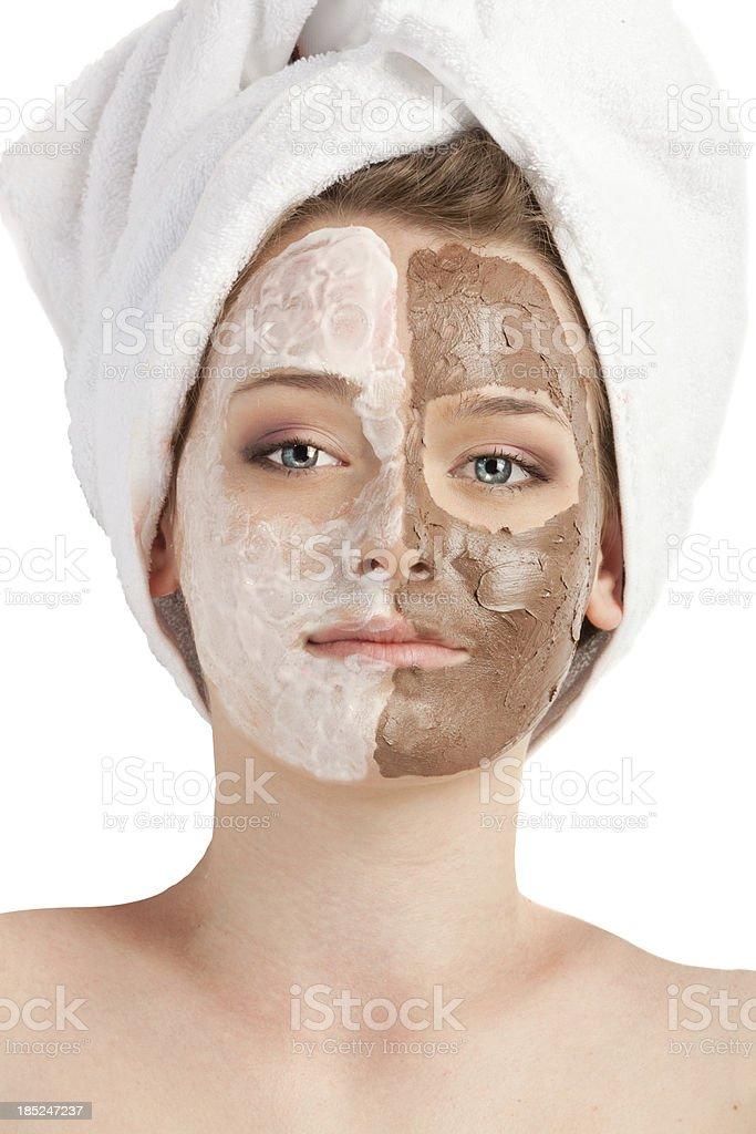Two Facial Masks Applied.  XXXL royalty-free stock photo