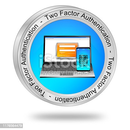 istock Two Factor Authentication Button - 3D illustration 1176564479