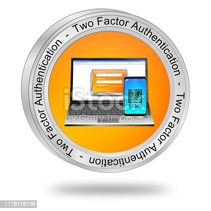 istock Two Factor Authentication Button - 3D illustration 1178116136