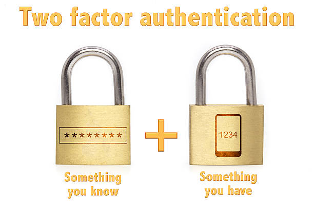 Two factor authentication padlocks concept know and have stock photo