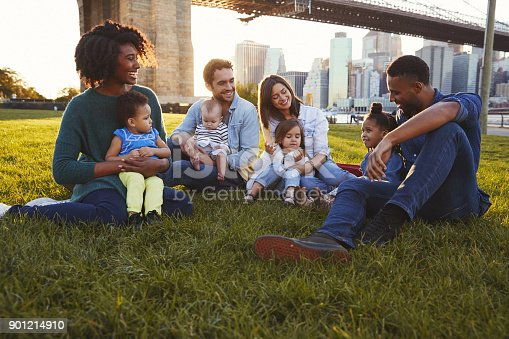 istock Two families with daughters sitting on lawn 901214910