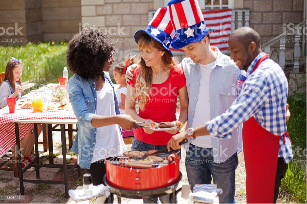 Two family on Independence Day stock photo