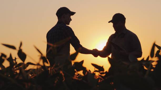 zwei bauern auf dem feld zu sprechen, dann schütteln sich die hände. verwenden sie eine tablette - farmer stock-fotos und bilder