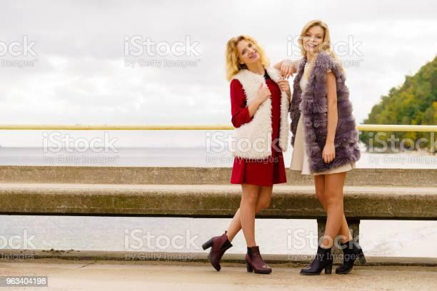 Dwie Modne Kobiety Na Świeżym Powietrzu - zdjęcia stockowe i więcej obrazów Dorosły