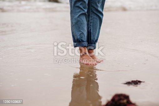 POV of woman standing on beach