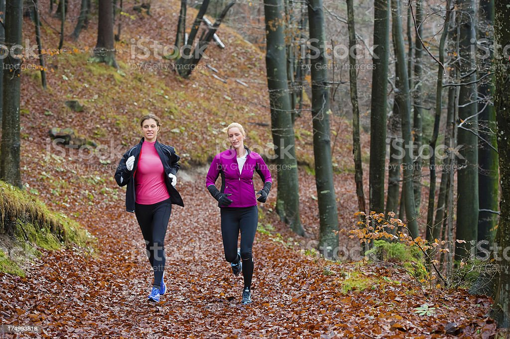 Two female athletes jogging in the forest stock photo