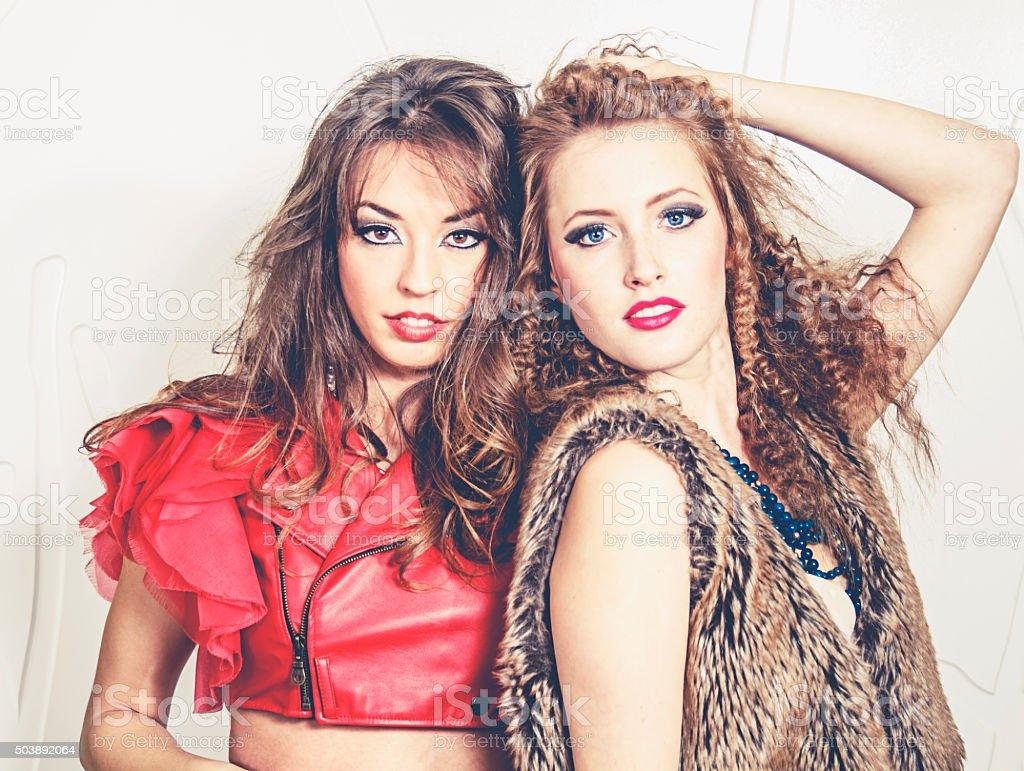 Two female fashion models stock photo