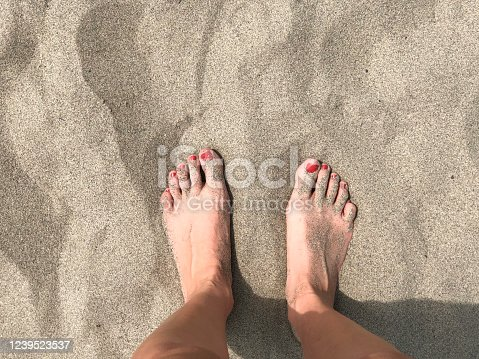 Two female feet on sand close-up. Vacation concept. Copy space.