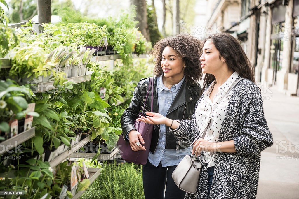 Two female friends buying plants outdoors stock photo