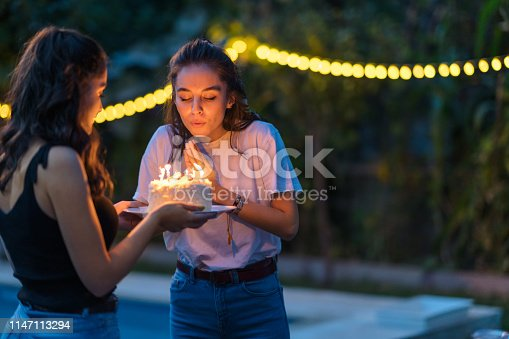 Two female are friends celebrating birthday party.