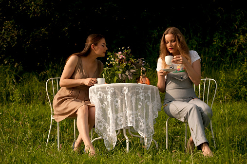 Two Female Friends Enjoying Afternoon Tea on their Garden