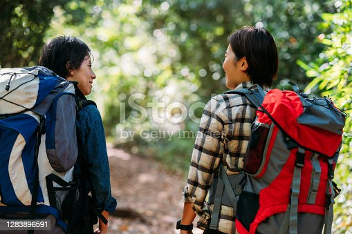 Two young female friends are hiking together in nature.
