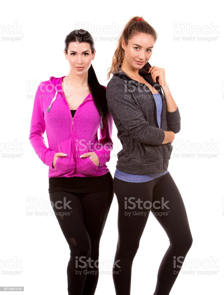 two female friends on white background royalty-free stock photo
