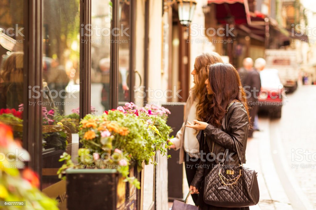 Two Female Friends Shopping in Istanbul stock photo