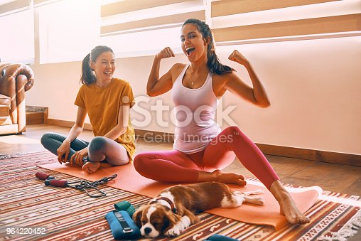 istock two female friends working out and having fun together at home 964220452