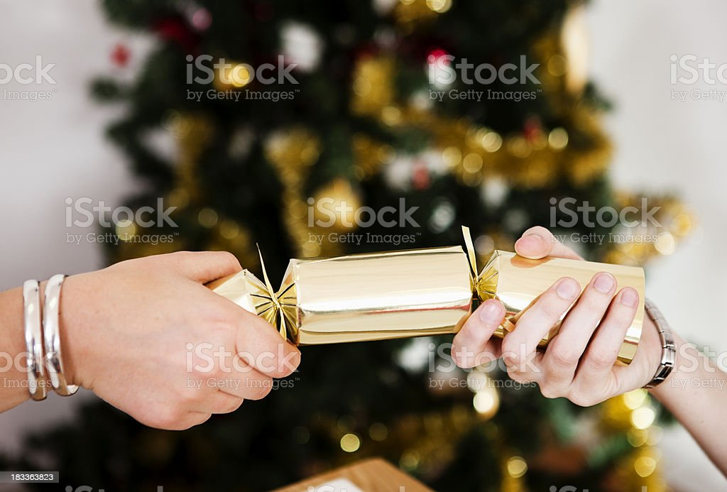 Two female hands pull Christmas cracker in front of tree stock photo