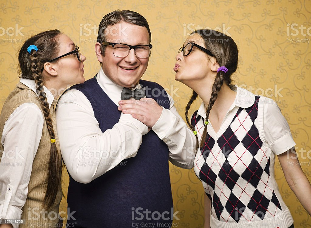 Two female nerds in love stock photo