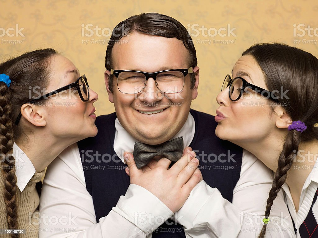 Two female nerds in love royalty-free stock photo