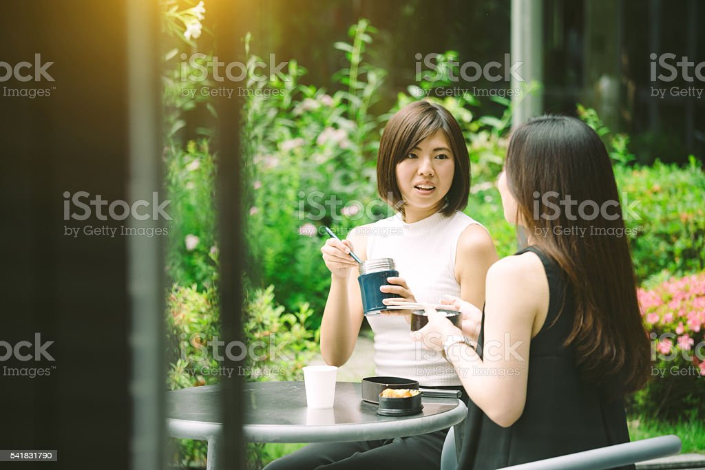 Two female office workers having lunch together outdoor stock photo