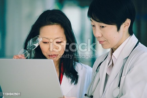 966874060istockphoto Two female scientist and doctor check the result 1134942501