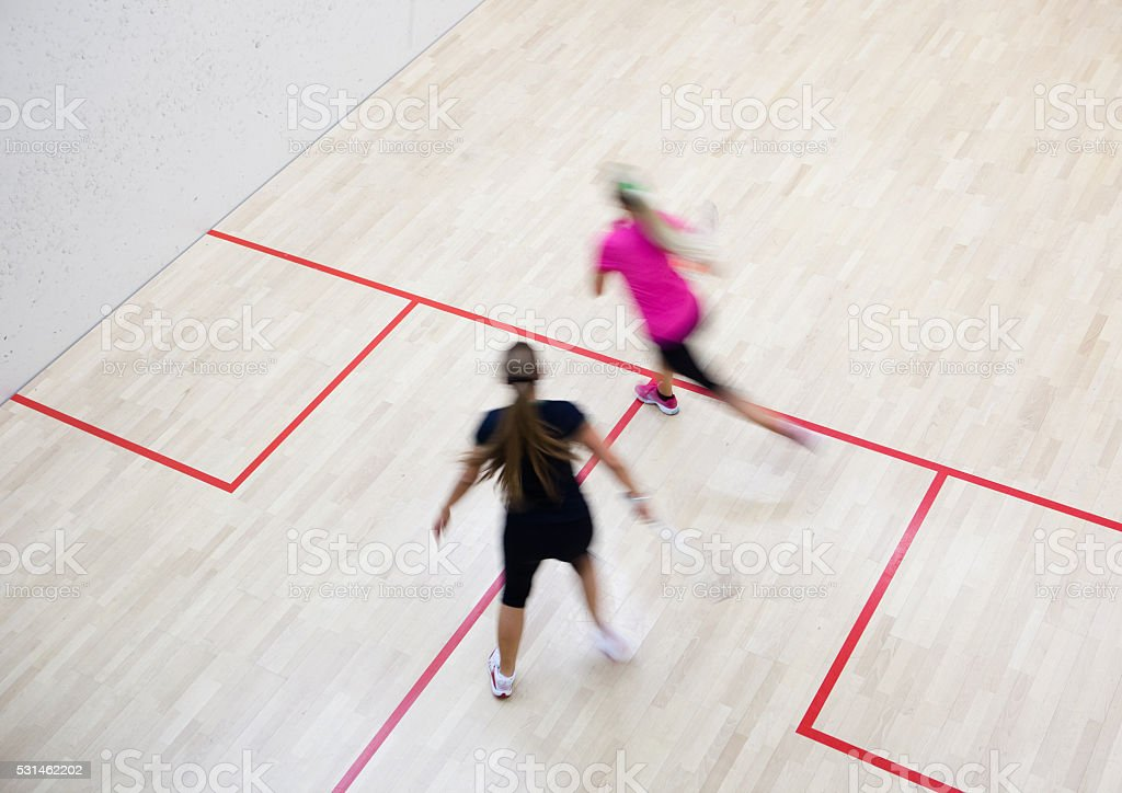 Two female squash players stock photo