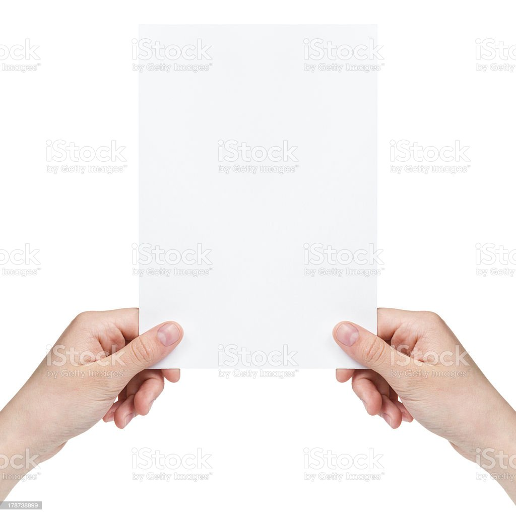 two female teen hands holding blank paper sheet royalty-free stock photo