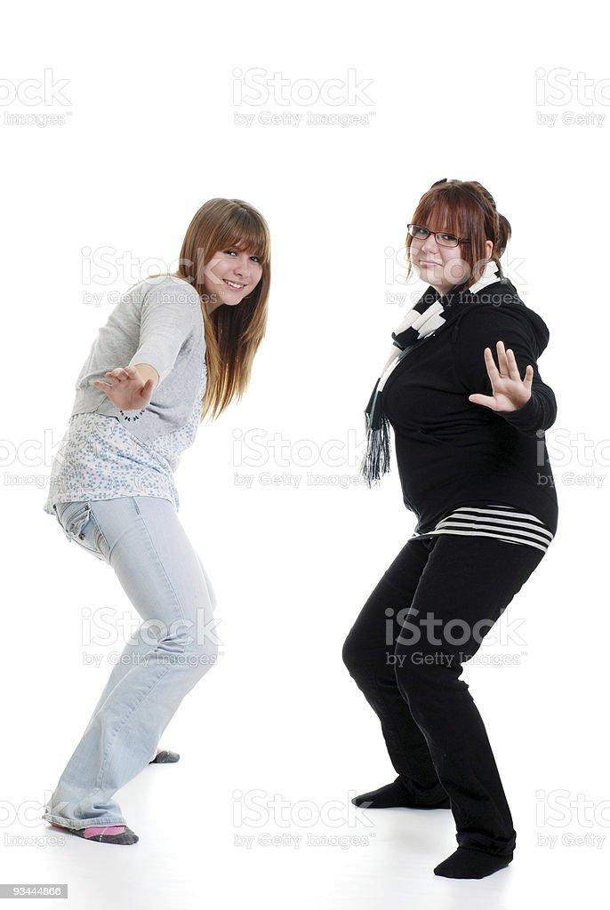 Zwei weibliche Teenager Tanzen Lizenzfreies stock-foto