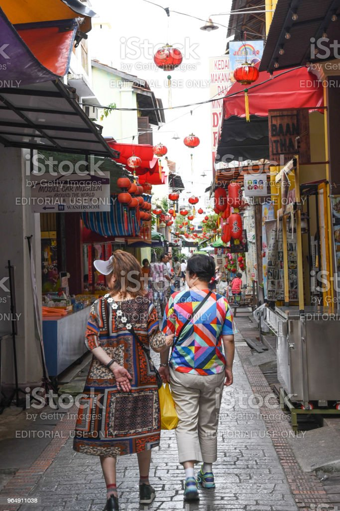 Two female tourist in Ipoh, Malaysia stock photo