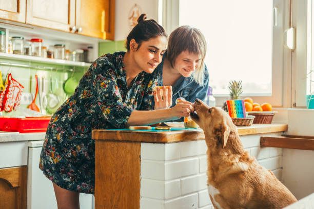 two females enjoing breakfast at home - coppia gay foto e immagini stock
