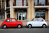 Two Fiat 500 Parked in The Street in Menton, France