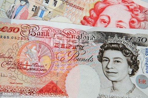 England, United Kingdom - October 29, 2010: Two fifty pound notes, England, UK, Western Europe.