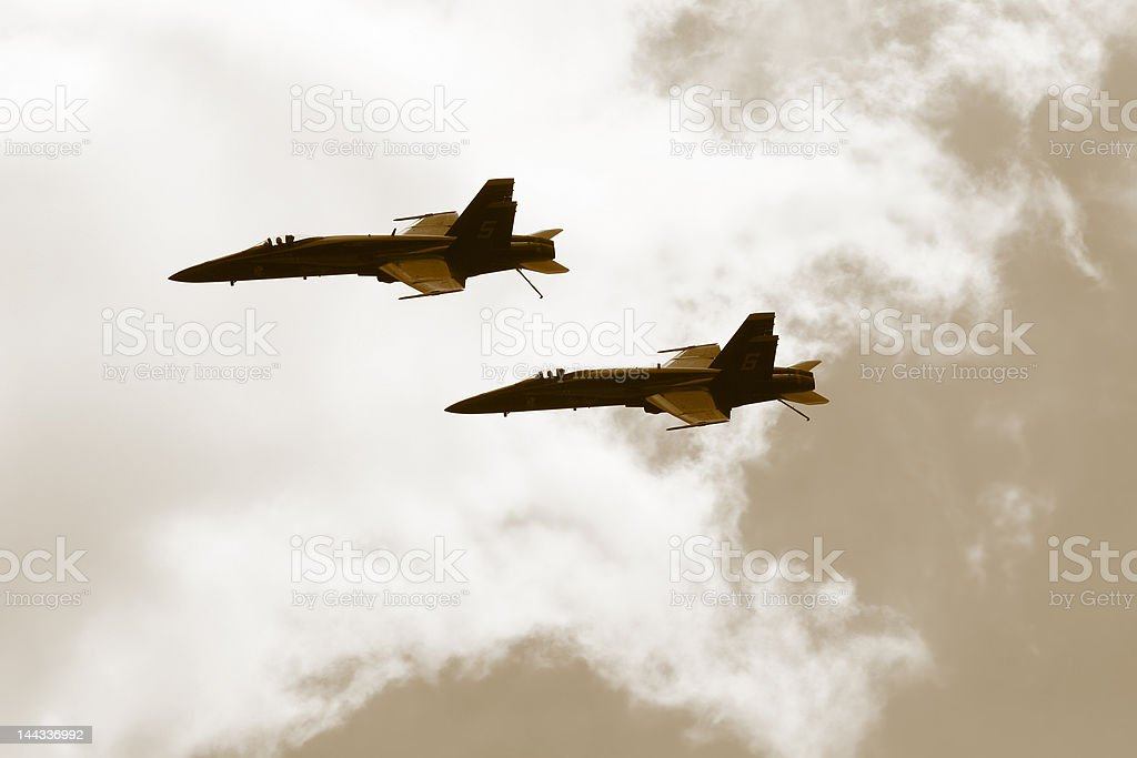 Two Fighter Aircrafts F-18 royalty-free stock photo